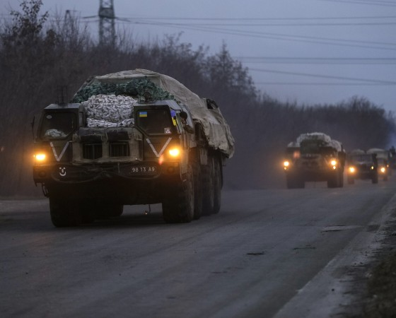 Multiple rocket launcher systems belonging to the Ukrainian armed forces drive near Kramatorsk