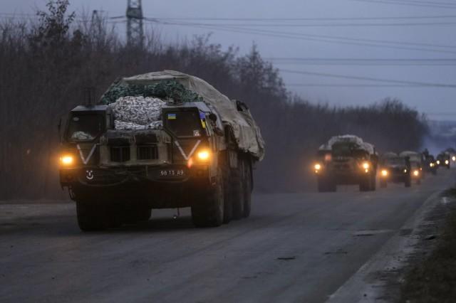 Multiple rocket launcher systems belonging to the Ukrainian armed forces drive near Kramatorsk