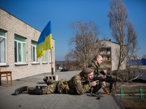 Ukrainian Soldiers Take A Break From The Frontline Near Mariupol