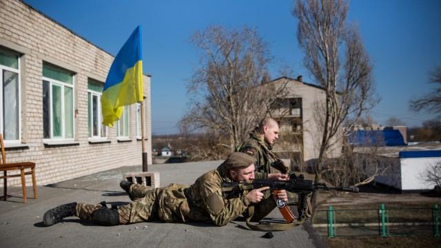 Ukrainian Soldiers Take A Break From The Frontline Near Mariupol