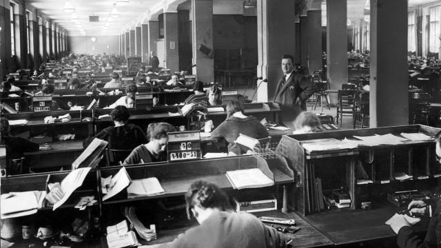 Großraumbüro in den 1920er Jahren