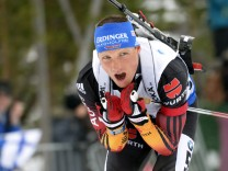 Lesser competes to win the Men's Pursuit 12,5 km competition during IBU Biathlon World Championships in Kontiolahti