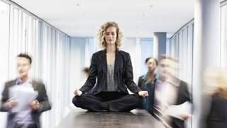 Germany Neuss Business woman meditating on desk model released property released PUBLICATIONxINxGE