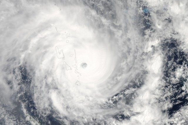 Cyclone Pam nears Vanuatu in this image from the Moderate Resolution Imaging Spectroradiometer on NASA's Aqua satellite