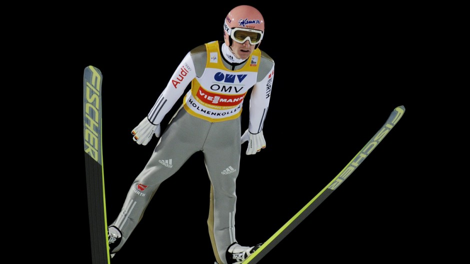 Severin Freund of Germany competes during the FIS Ski Jumping World Cup competition at the Holmenkollen Ski Arena in Oslo