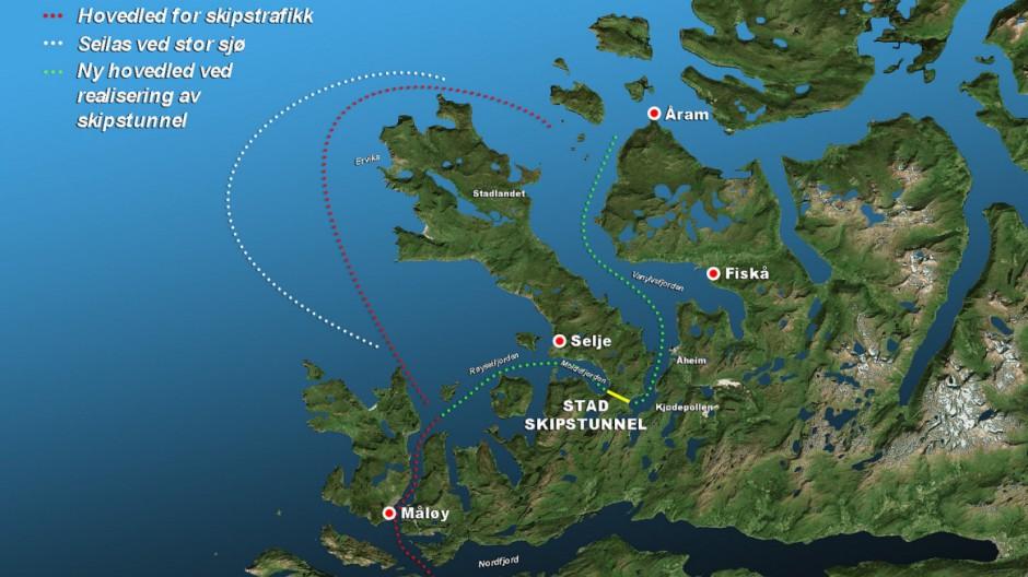 Karte zum Stad Ship Tunnel in Norwegen