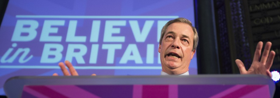 The leader of the United Kingdom Independent Party (UKIP), Nigel Farage announces the party's policy on immigration, at a venue in central London