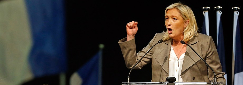 France's far-right National Front political party leader Marine Le Pen delivers a speech during a political rally in Six-Fours