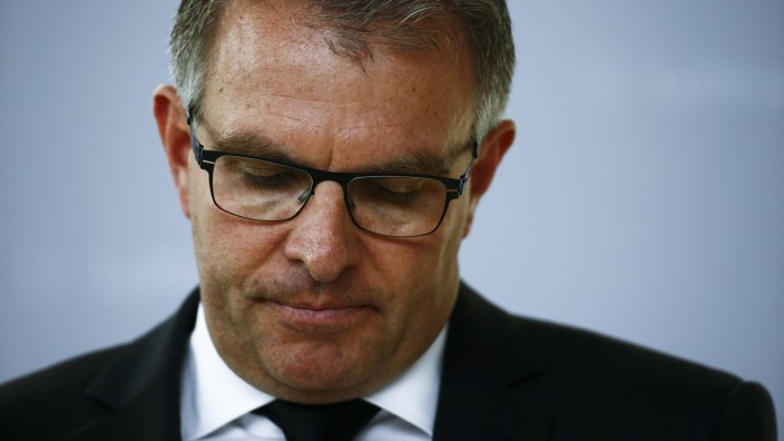 Spohr, Lufthansa Chief Executive, makes a statement at the Frankfurt airport