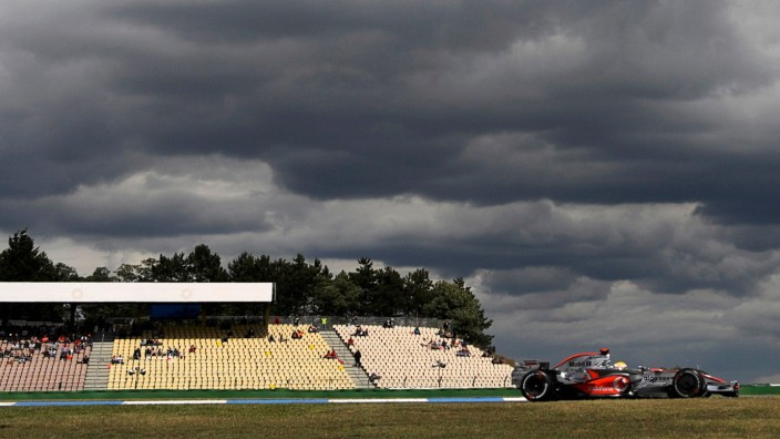 Formula One driver Hamilton of Britain steers his McLaren Mercedes during the second free practice for Grand Prix at Hockenheim race track