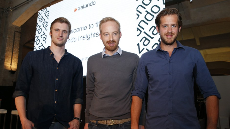 Zalando management board members Schneider, Ritter and Gentz pose for the media during a media presentation in Berlin
