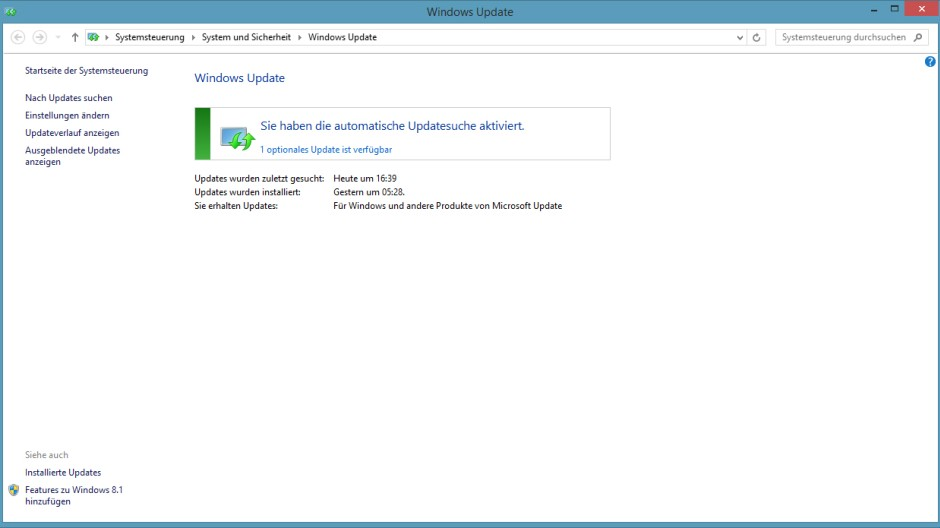 Screenshot Windows 8 Update