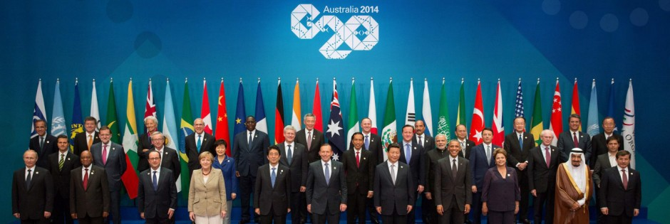 G20 handout photo shows participants posing for the G20 Leaders' Summit family photo in Brisbane