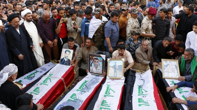 Funeral of Iraqi soldiers allegedly killed by Islamic State (IS)