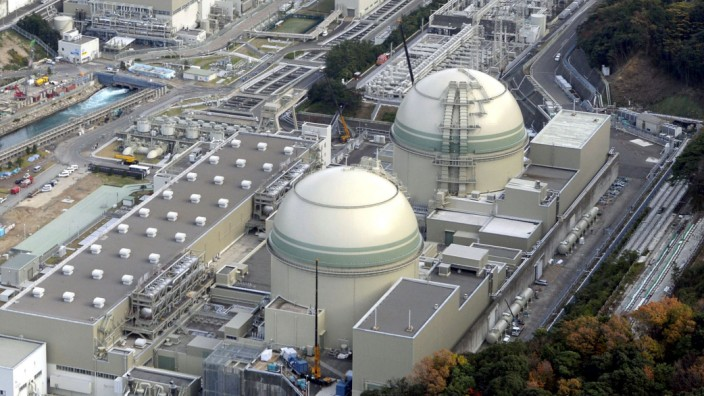 Aerial view shows reactor buildings at Kansai Electric Power Co.'s Takahama nuclear power plant in Takahama town, Fukui prefecture