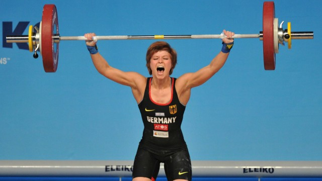 150413 TBILISI April 13 2015 Julia Schwarzbach of Germany competes during the women s 53kg