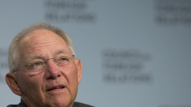 German Finance Minister Wolfgang Schauble speaks at the Council on Foreign Relations in New York