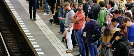 Passengers wait for a U-Bahn underground train during a nationwide strike of Germany's train drivers' union GDL, at Friedrichstrasse underground station in Berlin