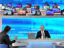 Russian President Vladimir Putin holds Q&A live broadcast TV and