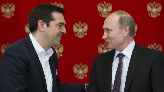 Russian President Vladimir Putin meets with Greek Prime Minister