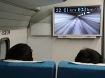 Maglev-Passagiere bei der Weltrekordfahrt.