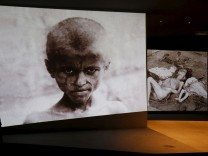 Historical photographs of mass killings of Armenians in Ottoman Empire are displayed at the Tsitsernakaberd Armenian Genocide Memorial Museum in Yerevan,