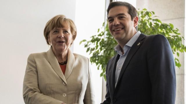 German Chancellor Angela Merkel meets Greek Prime Minister Alexis