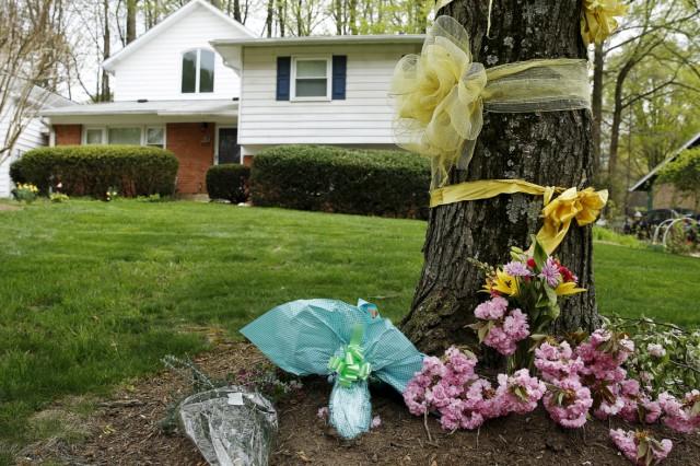 Flowers are seen outside the home of Warren Weinstein in Rockville