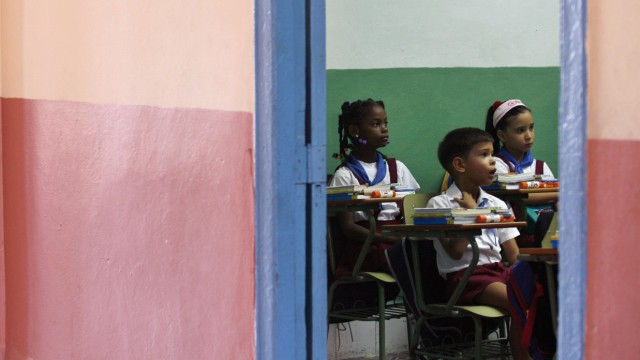 Second graders attend class at a school in Havana