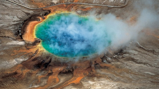 Yellowstone National ParkâÄÖs Grand Prismatic hot spring is pictured in this handout photo