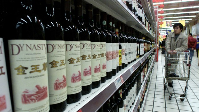Supermarkt in Schanghai mit chinesischem Wein