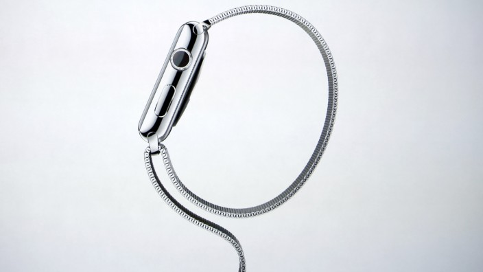 Apple Watch is shown on screen during an Apple event at the Flint Center in Cupertin