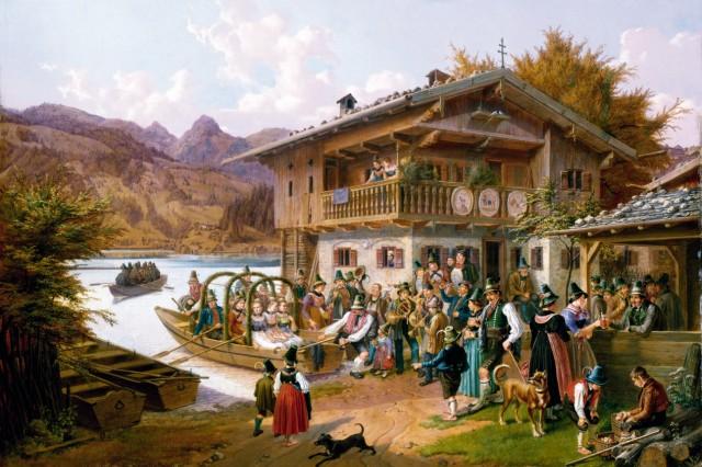 Quaglio, Lorenzo: Hochzeitsgesellschaft im Boot, 1849, GK I 6007.