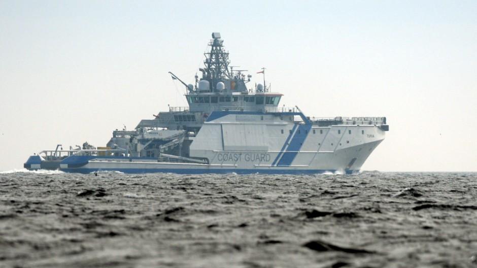 Finnish Border Guard ship, Turva, is seen guarding the waters near Helsinki