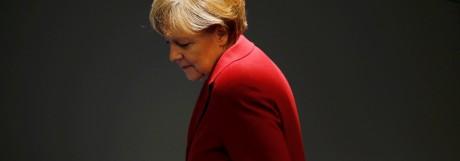 German Chancellor Merkel attends a debate at Bundestag in Berlin