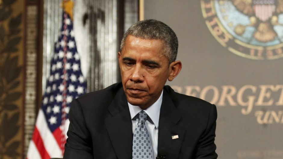 US President Barack Obama participates in a panel on overcoming p