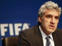 De Gregorio, FIFA Director of Communications and Public Affairs addresses a news conference at FIFA headquarters in Zurich