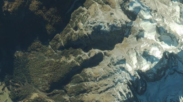 Satellite Photo Of Dolomite Mountain Range