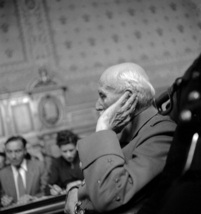 At the trial of Marshal Philippe Pétain (1856-1951) at Paris (France). In July 1945.