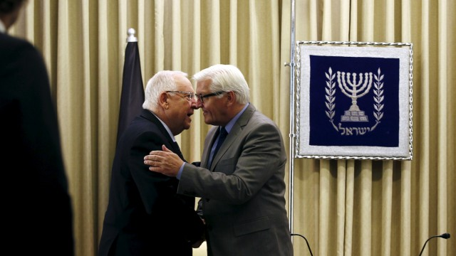 Israel's President Rivlin greets Germany's Foreign Minister Steinmeier in Jerusalem
