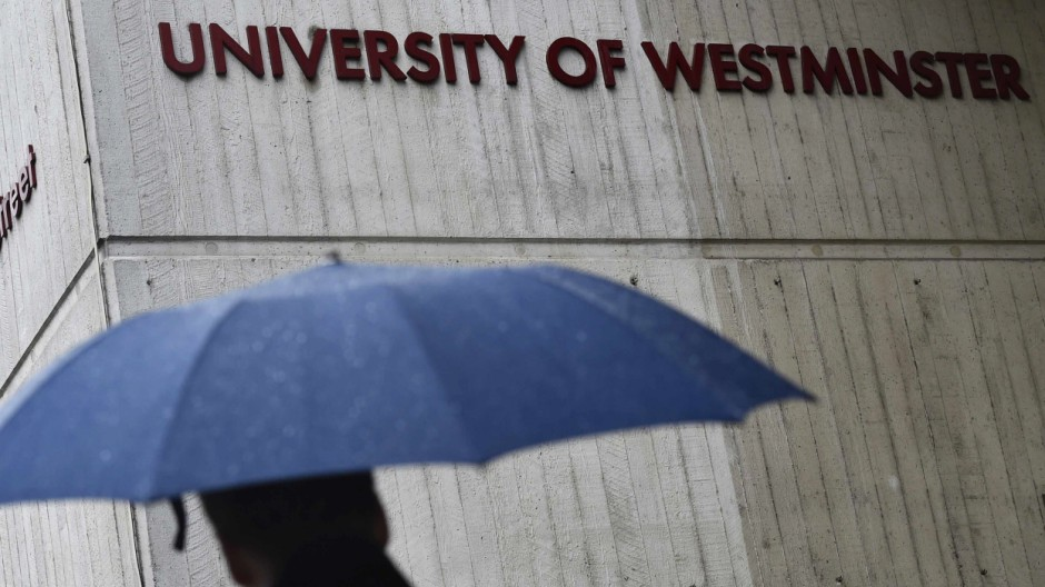The University of Westminster campus building is seen in central London