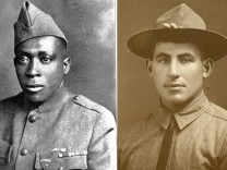 Undated photographs show WWI Medal of Honor recipients Johnson and Shemin