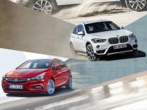 Collage mit dem neuen Opel Astra und BMW X1