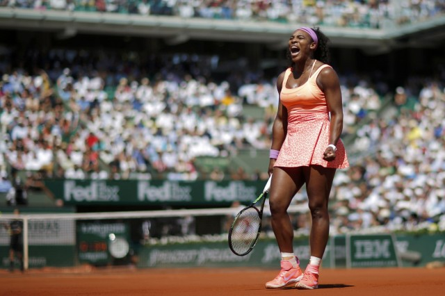 Serena Williams of the US reacts during her women's singles final match against Lucie Safarova of the Czech Republic at the French Open tennis tournament in Paris
