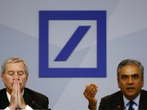 Jain and Fitschen, co-CEOs of Deutsche Bank, address a news conference in Frankfurt