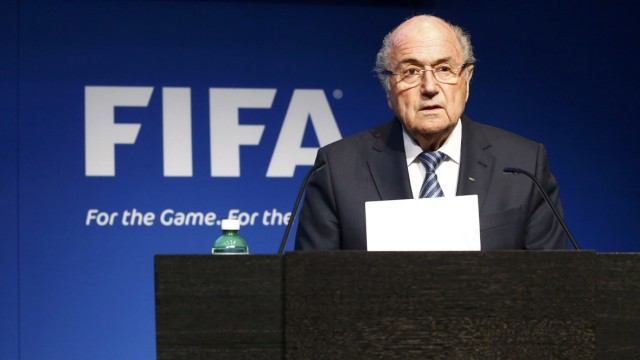 FIFA President Blatter addresses news conference at the FIFA headquarters in Zurich