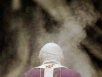 Pope Benedict XVI arrives to lead the mass in memory of John Paul II on the anniversary of his death at the Vatican