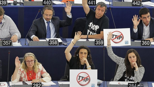 MEPs take part in of a voting session at the European Parliament in Strasbourg; ttip