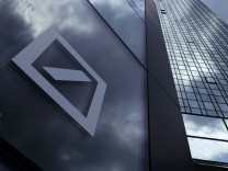 A Deutsche Bank logo adorns a wall at the company's headquarters in Frankfurt