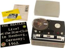 Tonbandgerät samt Tonband von Beatles-Aufnahme